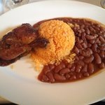Peruvian-style baked chicken served with choice of side (I chose yellow rice and beans)