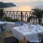 Dinner on patio overlooking ocean