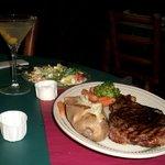 Rib Eye Steak - mid-rare, baked, mixed veg, salad with bleu
