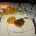 Filet mignon with spinach side dish