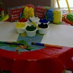 Painting activities available in the supervised creche.