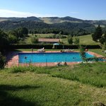 The pool and Tuscan countryside