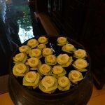 Floating flowers in foyer