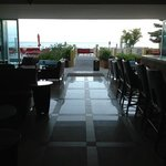 Lobby leading to pool and sea