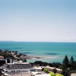 View of Takapuna Beach from my room at the Spencer