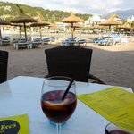 Outdoor seating on the beach with a view