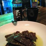 Dark Chocolate, Pistachio and Sea Salt Bark drizzled with EVOO