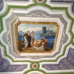 The beautiful ceiling in the salon.