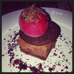 Raspberry Marques (raspberry sorbé on a dark chocolate cookie and mousse style base) naughty but