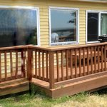 Front deck of yellow cabin