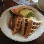 Oatmeal Waffles, Sausage, and Fresh Fruit