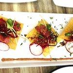 fresh tuna wong ton tostadas