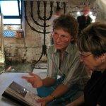 Dominique providing explanations at L'Antiga Sinagoga