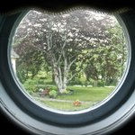 View from porthole window in bedroom