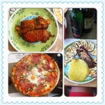 Antipasto Verdura e scamorza , Parmigiana di melanzane , Pizza Capricciosa