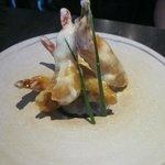 Fried shrimp in cream sauce
