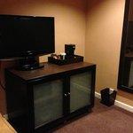 Sitting room with 2nd TV, fridge, large mirror