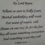 Copy of Lord Byron's poem written when the hotel was a house