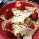 Crepes with goat cheese and strawberries