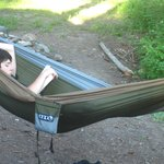 My son set up his backpacking hammock outside our door and chilled out in the evenings