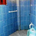 Batroom (shower behind the corner) - toilet seat is transparent with encased seashels and sand