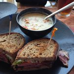 Pastrami special with clam chowder