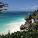The beach below the Tulum Mayan ruins