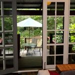 View of patio from inside cottage