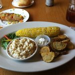 chipotle Mac n cheese, fresh corn, garlic potatoes, fried green tomatoes