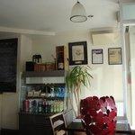Inside cafe front