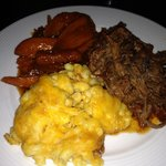 Texas pulled BBQ beef, Mac n cheese and orange ginger yams!