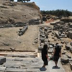 exploring nearby excavation site of Acropolis of Sparta