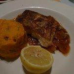 Oven baked hake with sweet potato mash