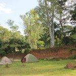 tenten in de tuin, ook mogelijkheden onder bomen.