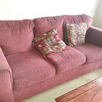 horrible stained couch. very uncomfortable