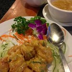 lychee tea with salted egg prawns