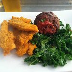 organic almond chicken tenders, grass-fed meatball, kale salad