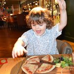 Kids Pizza and Salad, he was very pleased!
