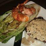 Wood Grilled Sirloin Steak with bacon wrapped jumbo tiger shrimp