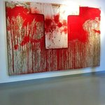 Een schilderij van bloed en olie.