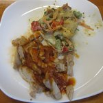 BBQ pulled chicken and warm potato salad