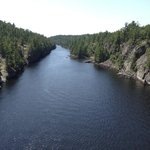 The French River Gorge looking from the snowmobile suspension bridge