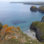 Looking towards mullion Cove, hotel top right.