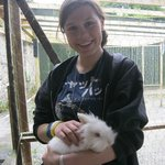 Myself holding one of the many rabbits