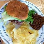 Burger, Bake Bean and Chip Combo