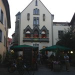 Dom restuarant- mostly burgers and a few salads, charming location, no smoking inside