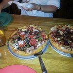 Mellow Mushroom. house pizza and pepperoni and bacon.