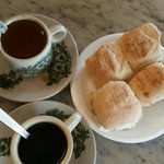 Fantastic coffee, great toasted buns with kaya (coconut jam) and butter