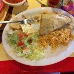 My quesadilla when it was half gone.