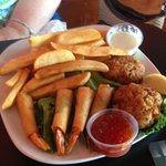 Crab cakes and shrimp dippers
